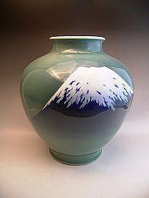 Japanese L. 19th or E. 20th C. Fukagawa Mt. Fuji Vase