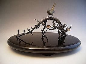 Japanese E. 20th C. Bronze Plum Tree and Nightingale