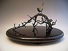 Japanese E. 20th C. Bronze Plum Tree and Nightingale