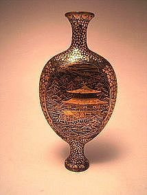 Japanese Meiji Period Komai Iron Vase with Gold Inlays