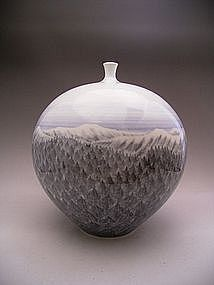 Japanese 20th Century Porcelain Vase by Fujii Shumei