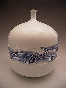 Japanese 20th Century Celadon Vase by Fujii Shumei