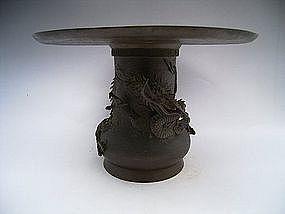 Japanese Meiji Dragon Design Usubata Flower Holder