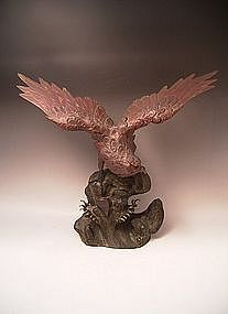 Japanese Early 20th Century Bronze Hawk on Rocks