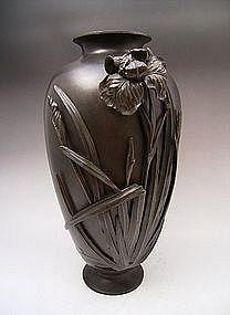 Japanese Meiji Period Bronze Iris Vase by Yoshikiyo
