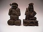 Japanese Edo Period Wood Carving of Daikoku & Ebisu