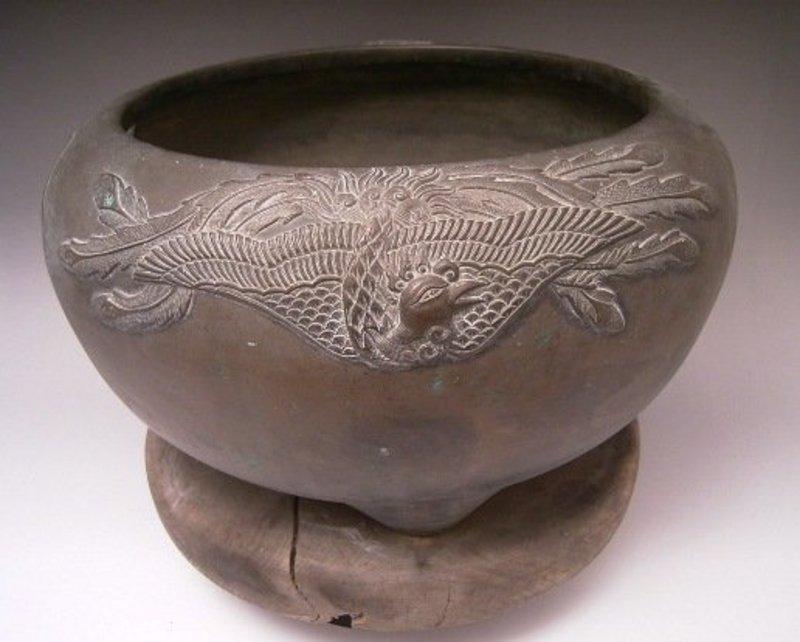 Japanese Early 20th Century Bronze Phoenix Hibachi