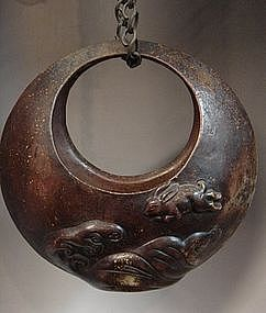 Japanese circa 1900 Bizen Ware Flower Holder