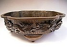 Japanese Early 20th Century Bronze Flower Container