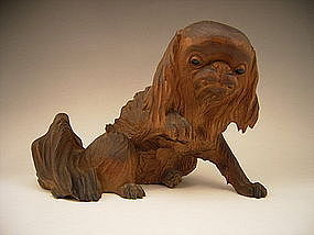Japanese Early 20th Century Wooden Carved Pekingese Dog