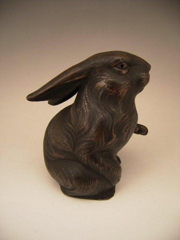 Japanese 20th Century Bizen Rabbit Okimono