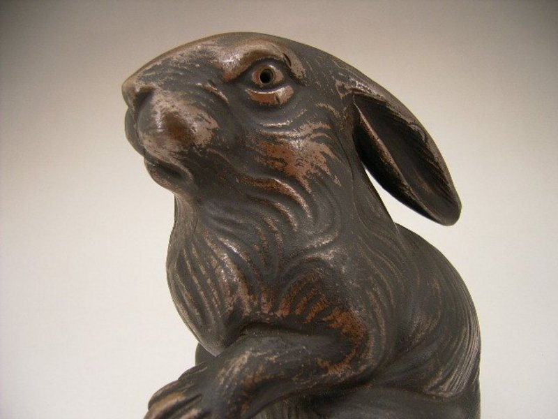 Japanese 20th Century Bizen Rabbit Okimono