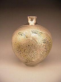 Japanese Mid 20th Century Quail Design Silver Vase