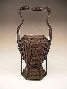 Japanese Circa 1900 Finely Woven Basket by Chikuyusai