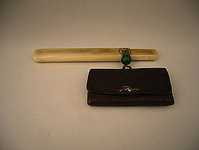Japanese Meiji Period Tobacco Pouch and Pipe Case