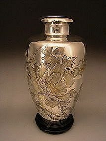 Japanese Mid 20th Century Pure Silver Vase
