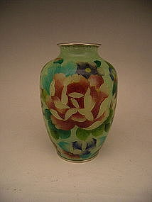 Japanese 20th C. Plique a Jour Flower Design Vase