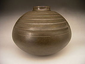 Japanese Bronze Inlaid and Etched Vase by Honbo Keisen