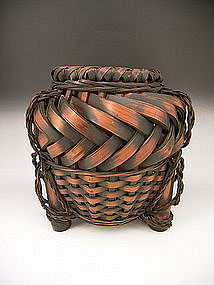 Japanese Early 20th Century Bamboo Flower Basket