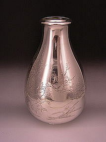 Japanese Meiji Period Large Silver Vase by Yukiteru