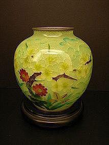 Japanese Taisho Period Plique a Jour Cloisonne Vase