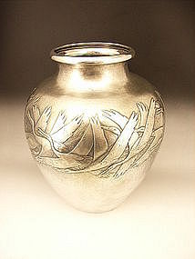 Japanese 20th Century Large Silver Crane Design Vase