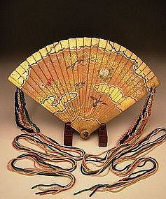 Japanese Edo Period Painted Wooden Fan w Silk Tassels