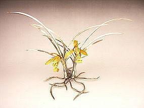 Japanese E. 20th C. Silver Cymbidium Orchid Okimono