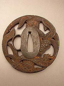 Japanese Mid Edo Period Akao Tsuba with Palm Design