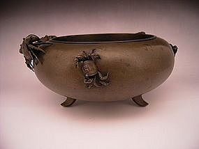 Japanese Bronze Vase with Crabs
