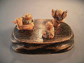 Japanese 19th Century Kamo Ningyo - Set of 3 Dolls