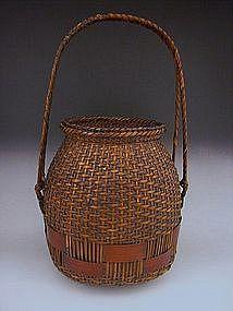 Japanese E. 20th C. Bamboo Basket