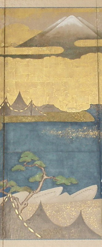 Japanese Early 19th C. Large 6-Fold Screen of Mt. Fuji