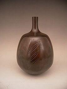 Japanese LNT Bronze Vase by Takamura Toyochika