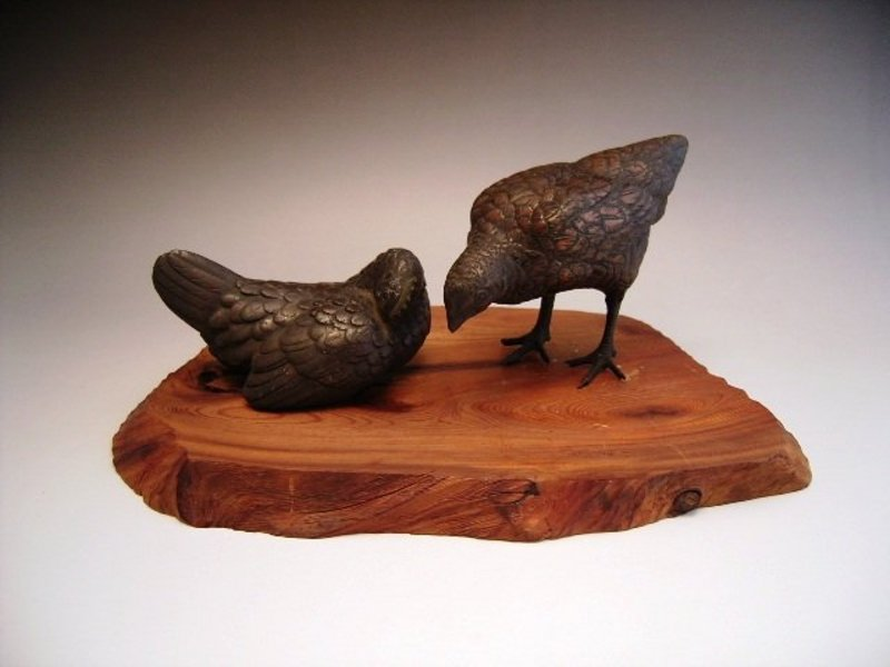 Japanese Meiji Bronze Okimono of Chickens