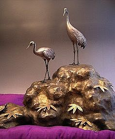 Japanese Mid 20th Century Silver Cranes and Bronze Base