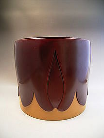 Japan Mid 20th C. Red/Mustard Gold Lacquer Hibachi Pr