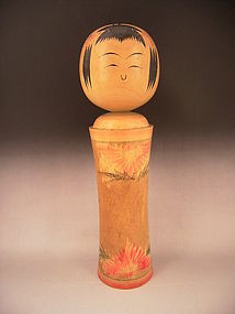 Japanese Mid  20th Century Large Kokeshi Doll - Signed