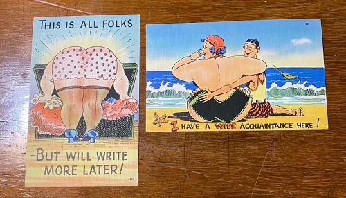 Two 1940's Comic Postcards Fat Ladies