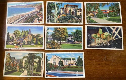8 Los Angeles Linen Color Litho Postcards Movie Star Homes