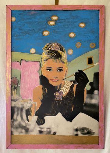 "Original Audrey Hepburn Painting Acrylic on Board 35.5"" by 23.5"""
