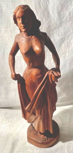 Vintage Carved Country French Wood Figure of a Woman