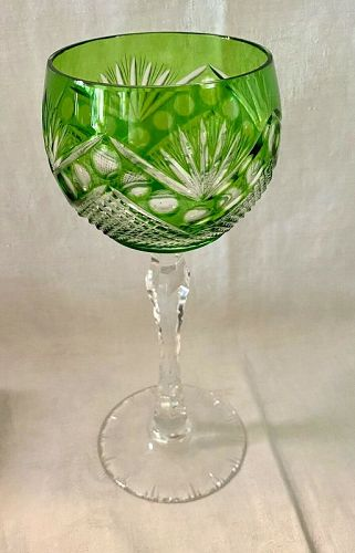 Antique Bohemian Green Cut Crystal Tall Stem Water/ Wine Goblet
