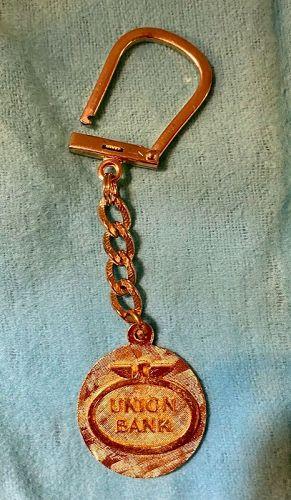 Vintage Unisex Union Bank Gold Plated Keychain