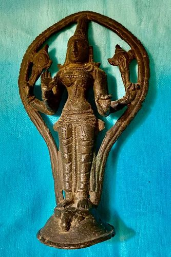 Old Metal Bronze Woman Diety God Figure India,