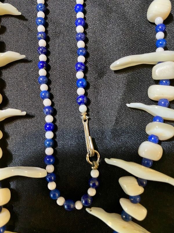 Lapis Lazuli & Mother of Pearl Bead Necklace