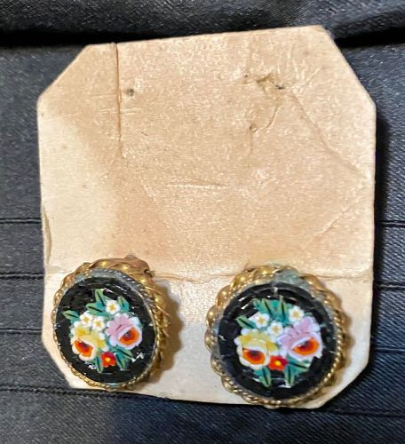 Vintage Italian Micro Mosaic Earrings