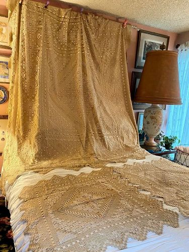 Rare Victorian Lace & Silk Full Bedspread & Side Table Covers