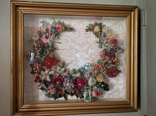 Large Victorian Shadowbox Wool Yarn Wreath