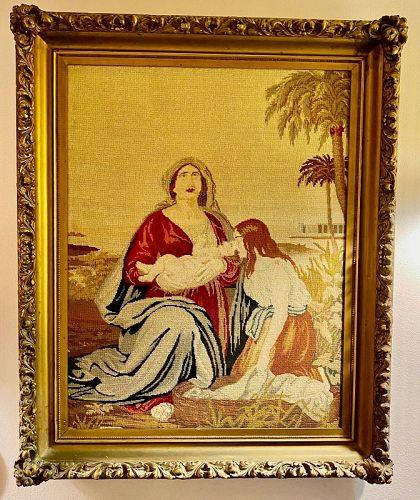 Victorian Needlepoint & Pettipoint Framed Picture Baby Moses Nile